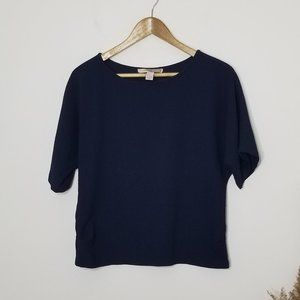 Forever21 XS Navy Blue Boxy Blouse Short Sleeve